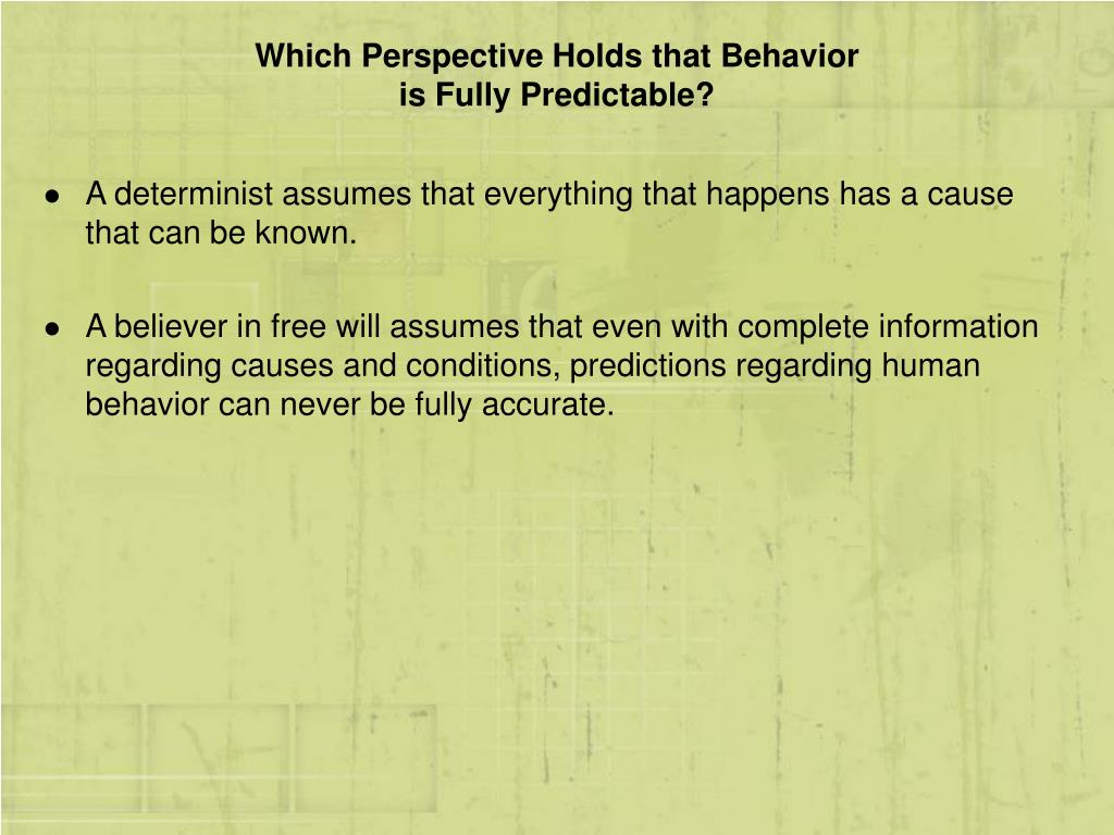 Which Perspective Holds that Behavior