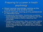 preparing for a career in health psychology