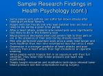 sample research findings in health psychology cont