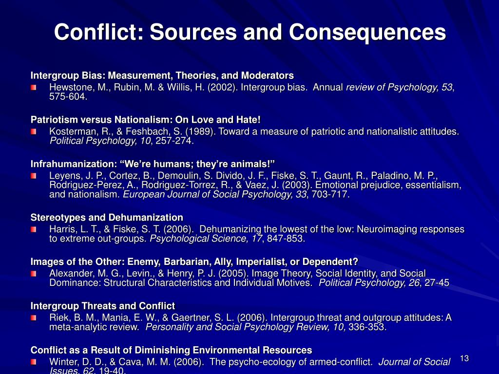 Conflict: Sources and Consequences