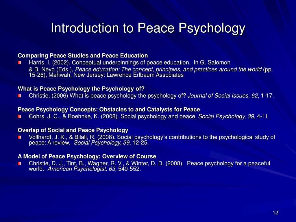 Introduction to Peace Psychology