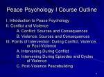peace psychology i course outline