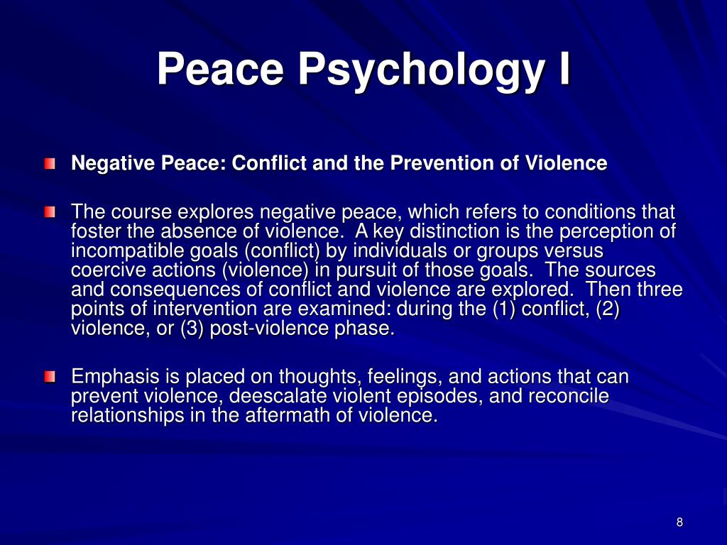 Peace Psychology I