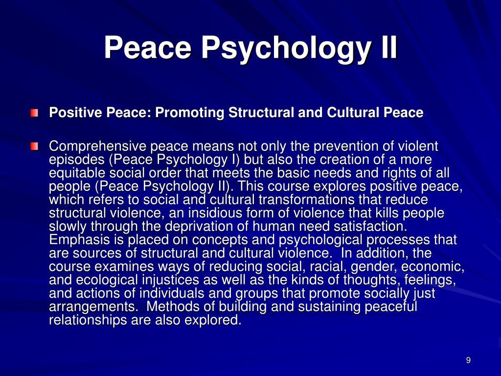 Peace Psychology II