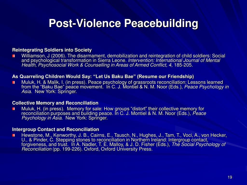 Post-Violence Peacebuilding