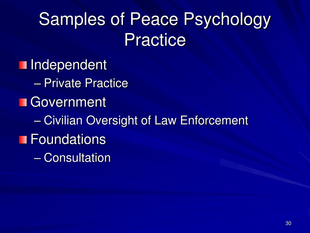 Samples of Peace Psychology Practice