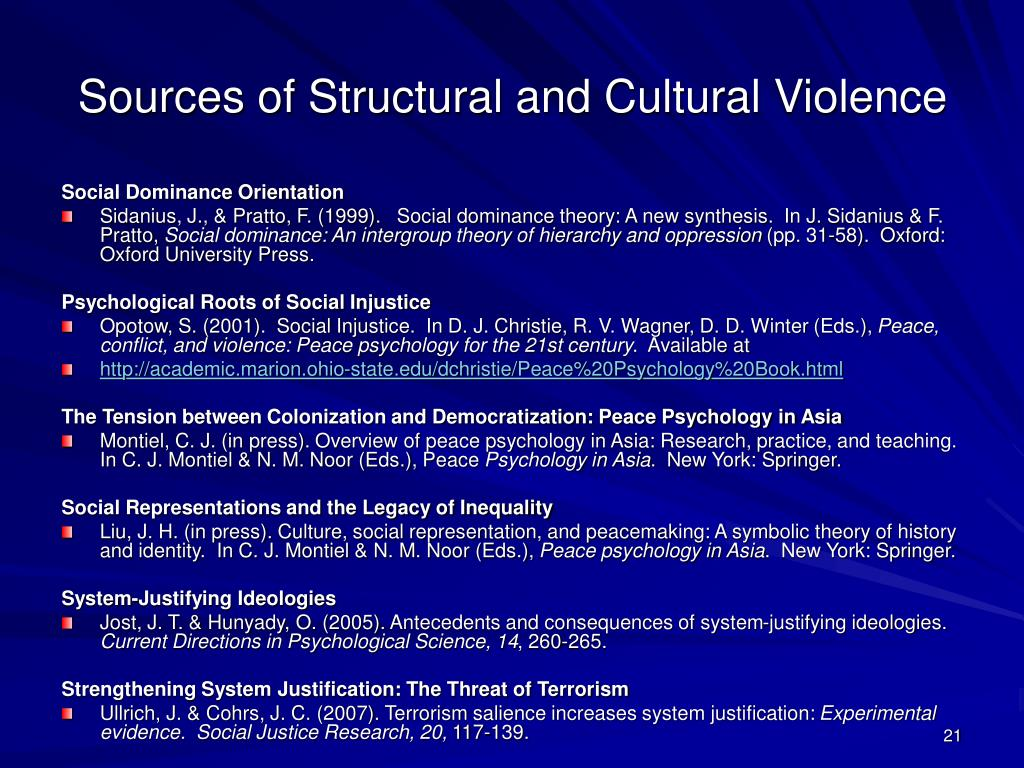 Sources of Structural and Cultural Violence