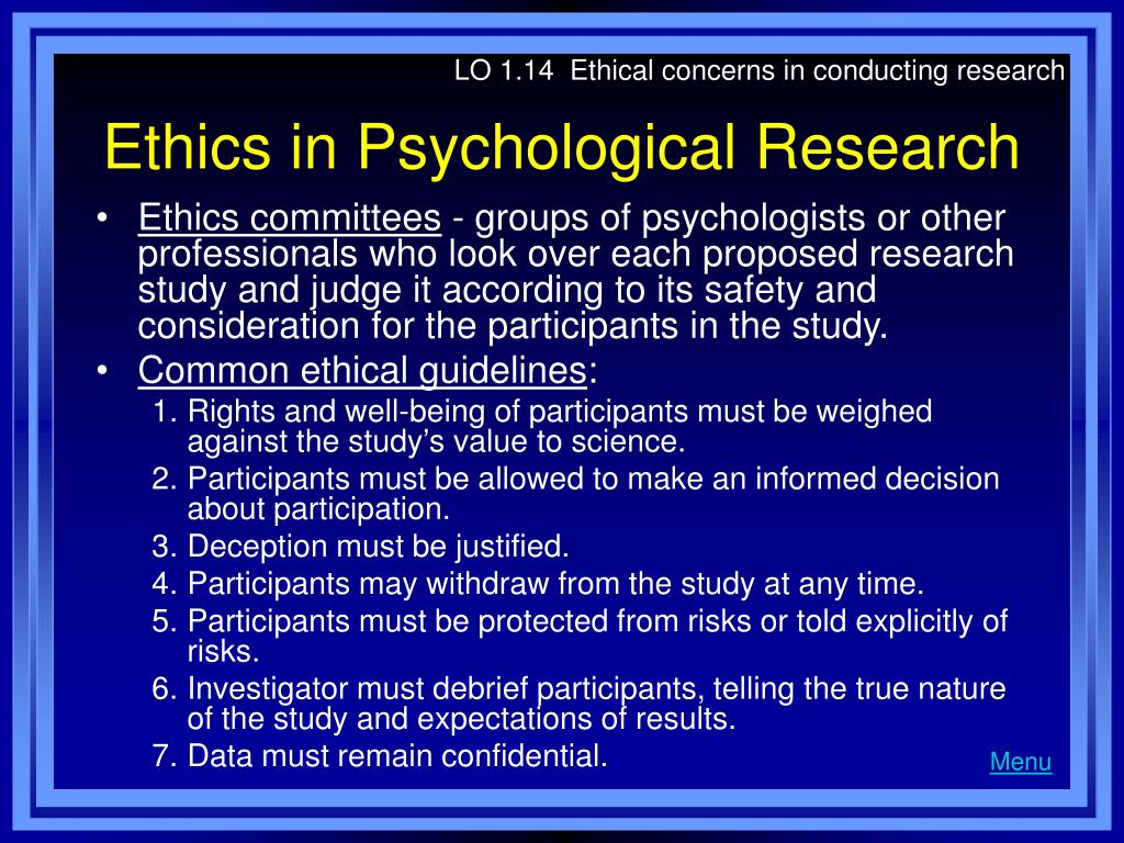 LO 1.14  Ethical concerns in conducting research