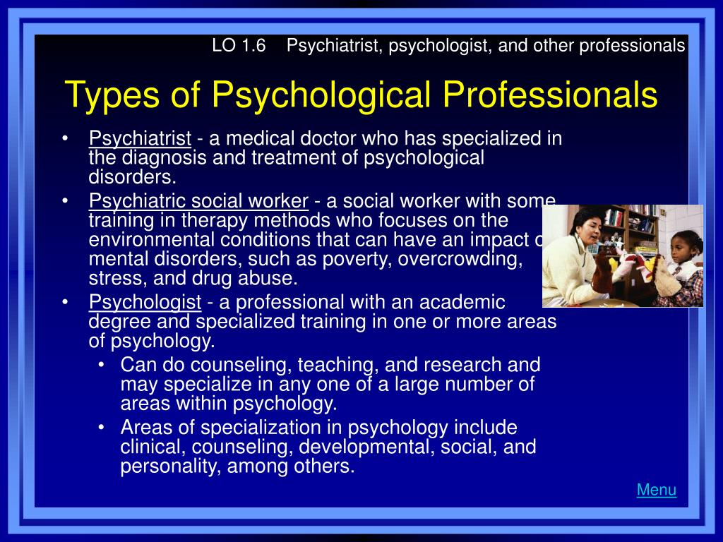 LO 1.6    Psychiatrist, psychologist, and other professionals