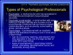 types of psychological professionals