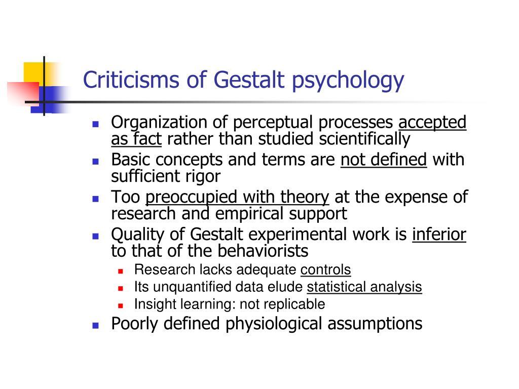 Criticisms of Gestalt psychology