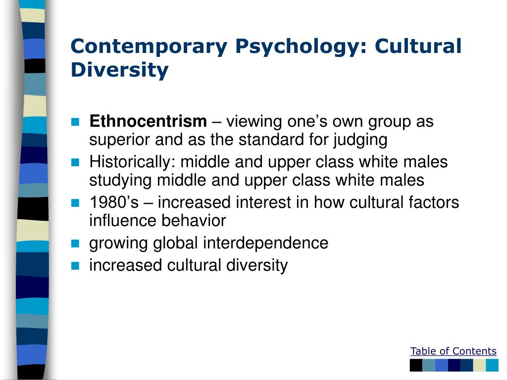 Contemporary Psychology: Cultural Diversity