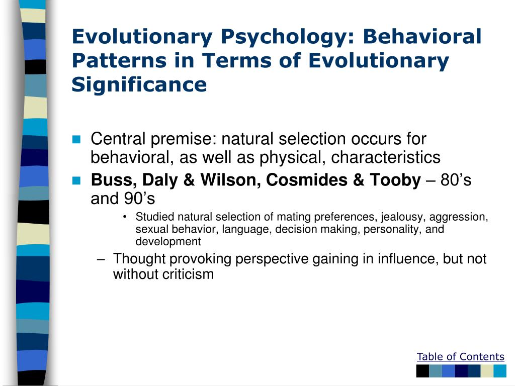 Evolutionary Psychology: Behavioral Patterns in Terms of Evolutionary Significance