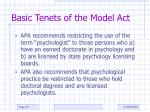 basic tenets of the model act