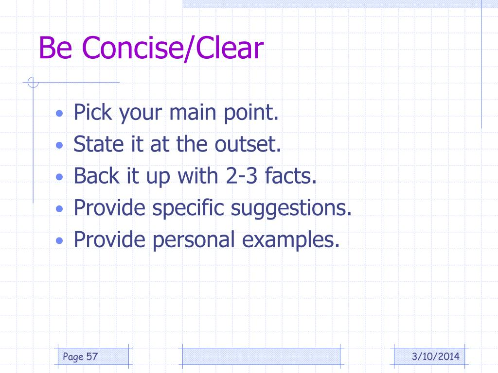 Be Concise/Clear