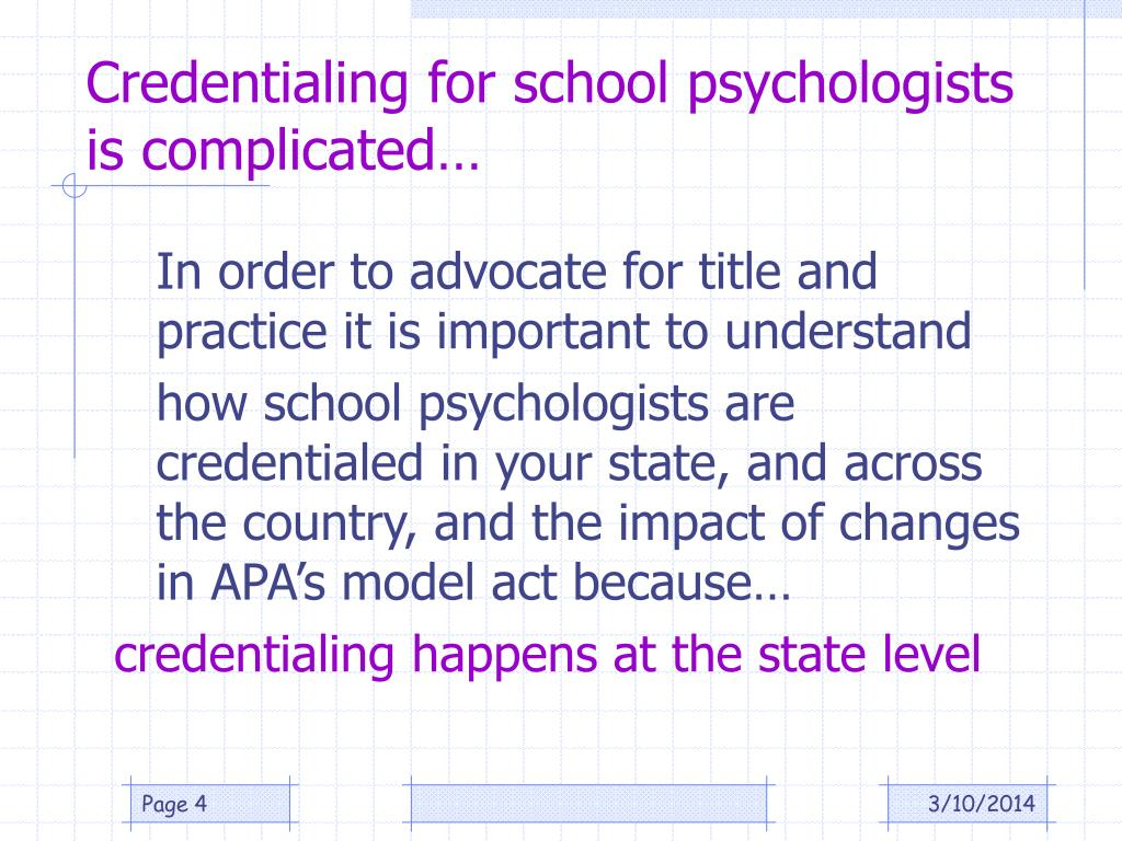 Credentialing for school psychologists is complicated…