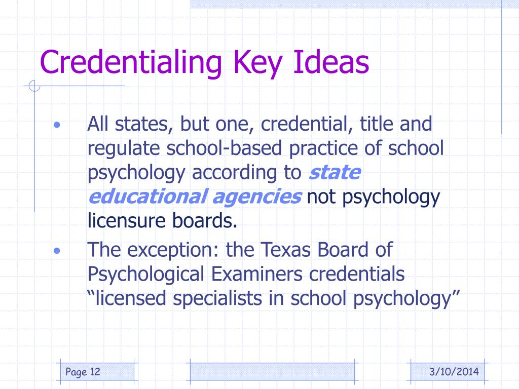 Credentialing Key Ideas
