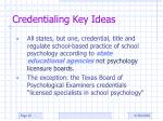 credentialing key ideas