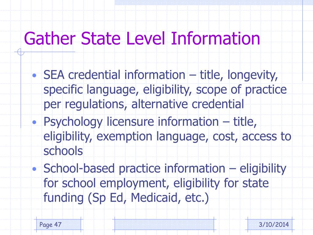 Gather State Level Information