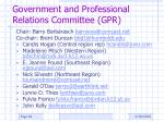 government and professional relations committee gpr