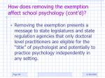 how does removing the exemption affect school psychology cont d