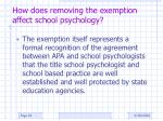 how does removing the exemption affect school psychology