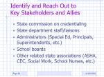 identify and reach out to key stakeholders and allies