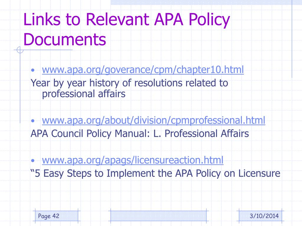 Links to Relevant APA Policy Documents