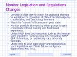 monitor legislation and regulations changes