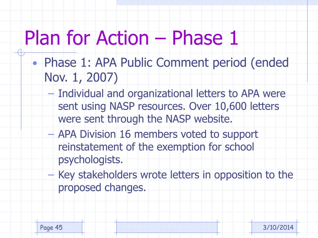 Plan for Action – Phase 1