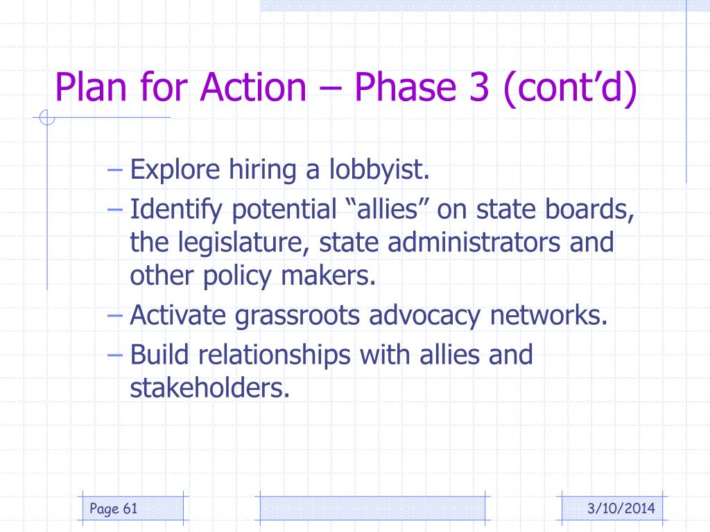 Plan for Action – Phase 3 (cont'd)