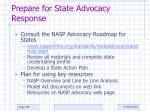prepare for state advocacy response