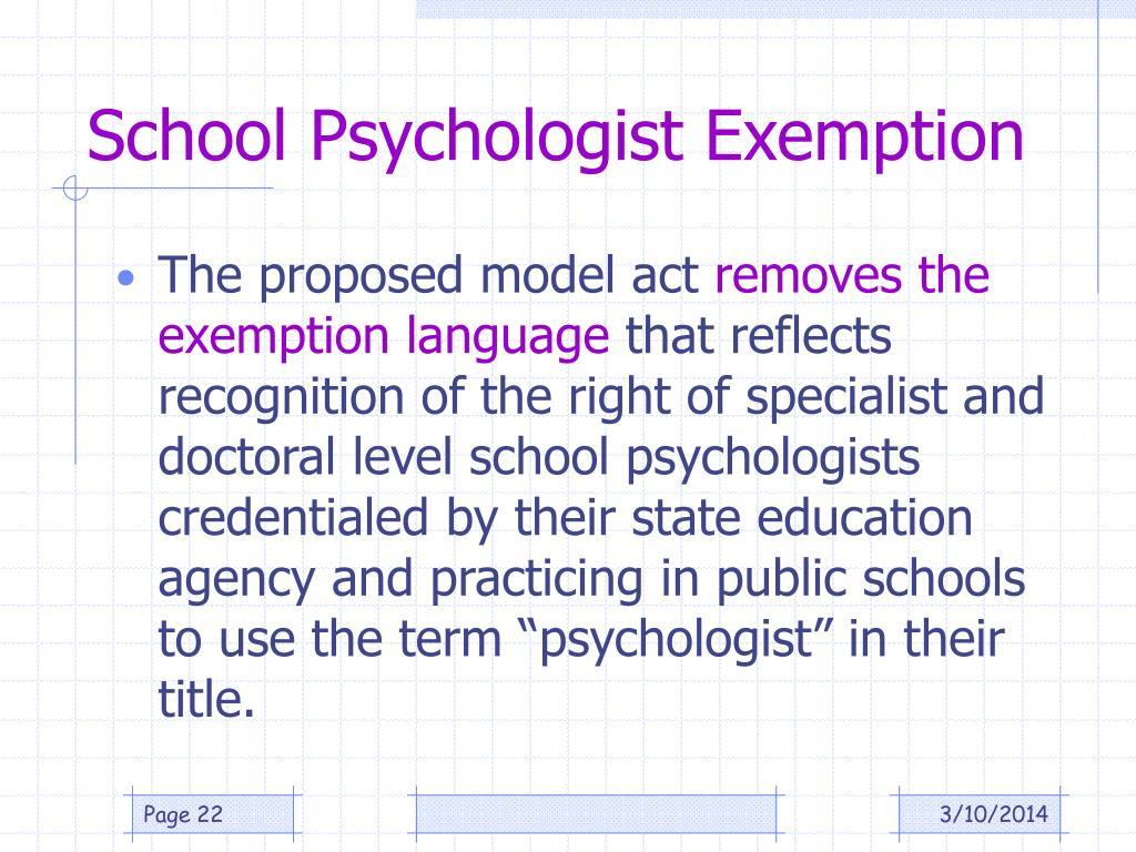 School Psychologist Exemption