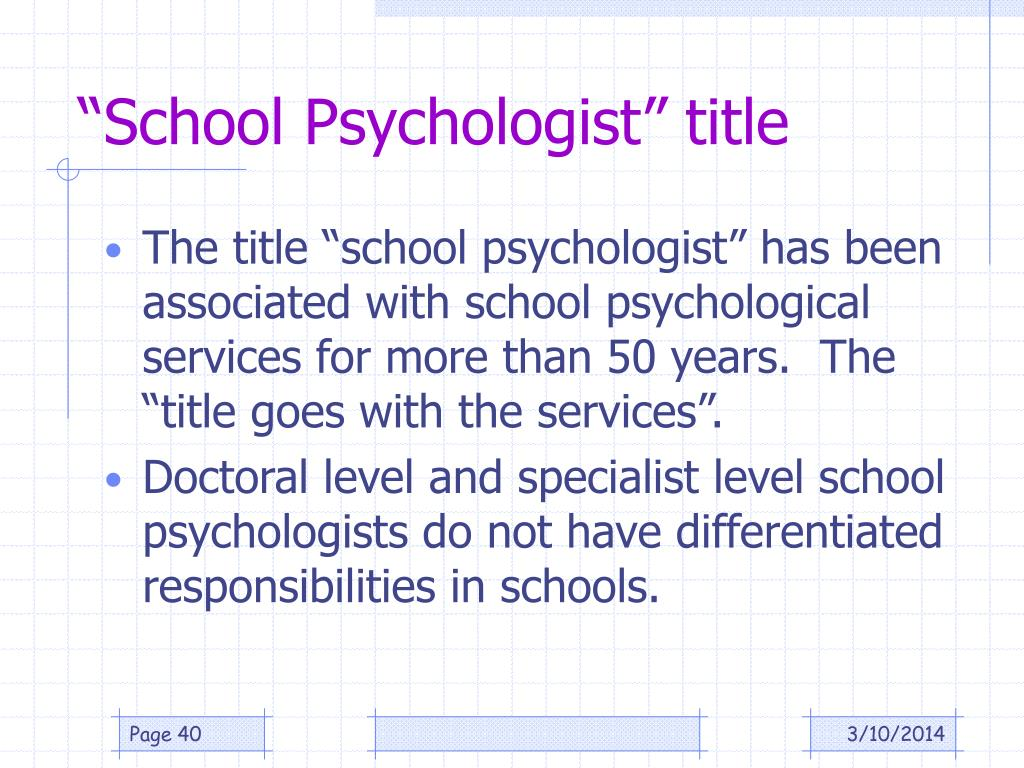 """School Psychologist"" title"
