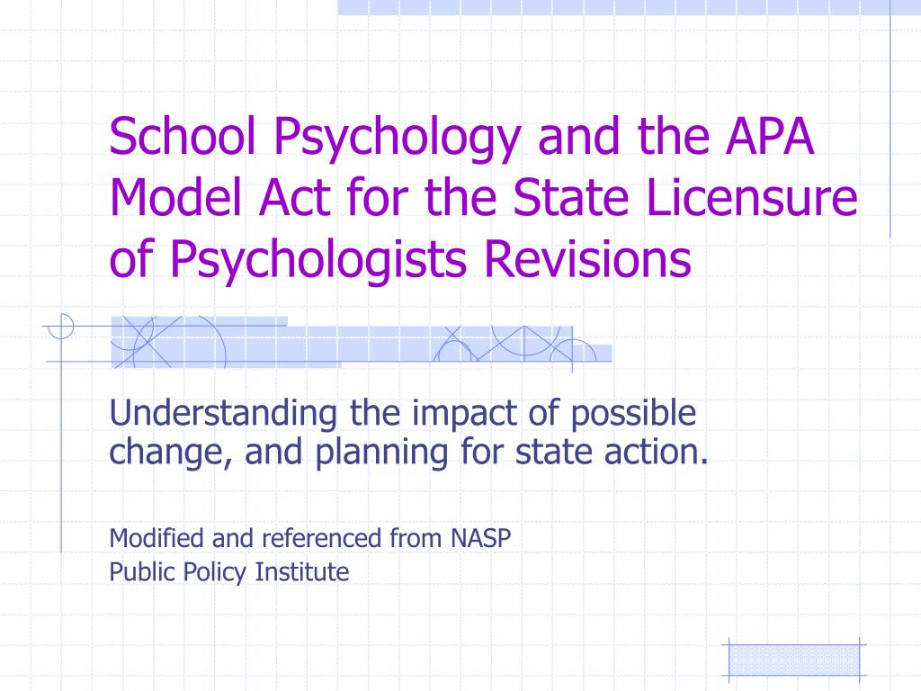 school psychology and the apa model act for the state licensure of psychologists revisions l.