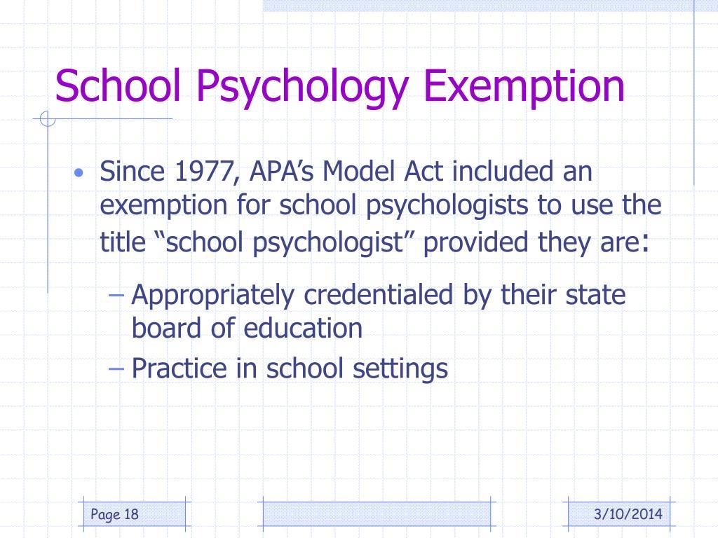 School Psychology Exemption