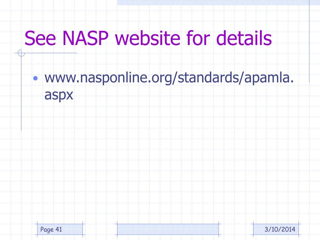 See NASP website for details