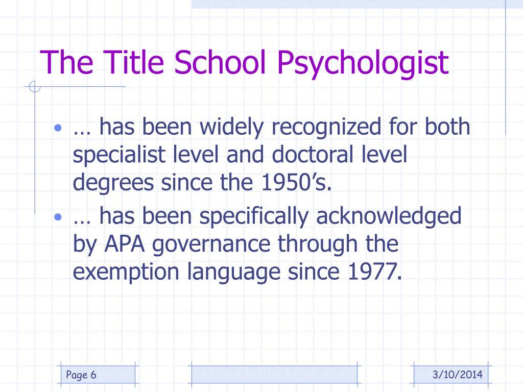 The Title School Psychologist