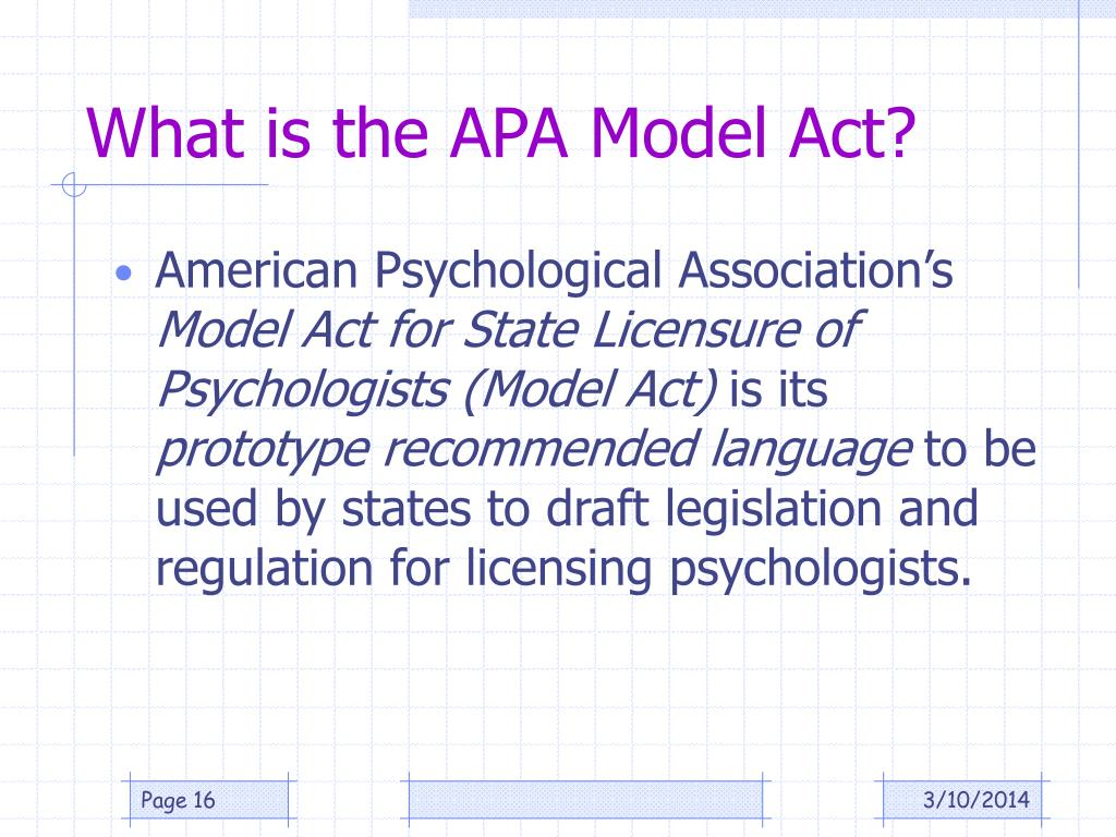 What is the APA Model Act?