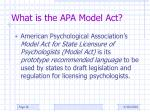 what is the apa model act