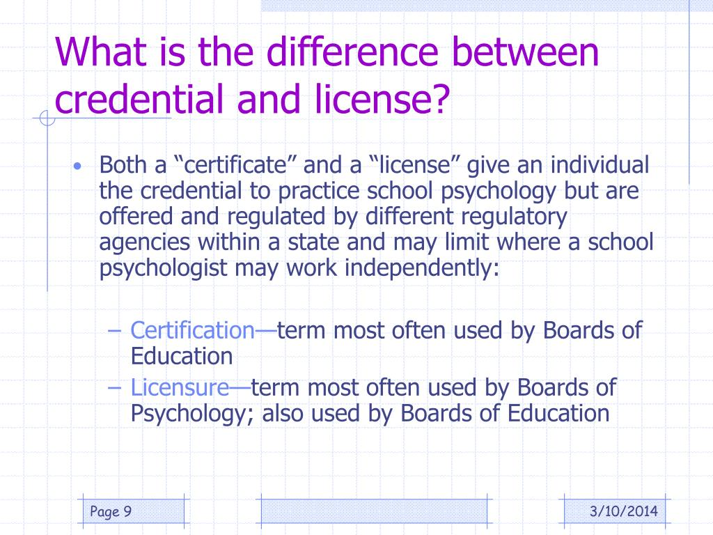 What is the difference between credential and license?
