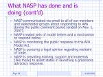 what nasp has done and is doing cont d