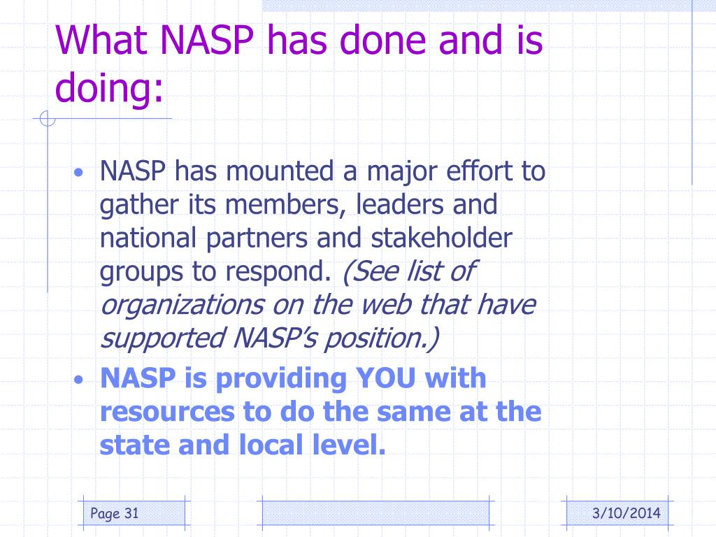 What NASP has done and is doing: