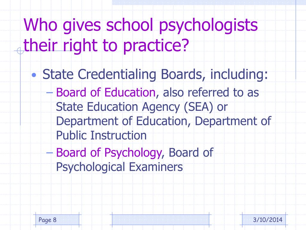Who gives school psychologists their right to practice?