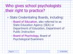who gives school psychologists their right to practice