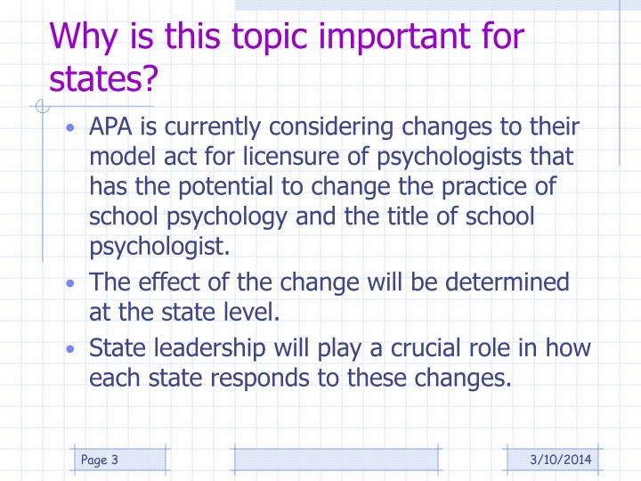Why is this topic important for states