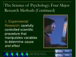 the science of psychology four major research methods continued