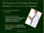 the science of psychology research methods experiment continued34