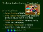 tools for student success continued