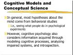 cognitive models and conceptual science